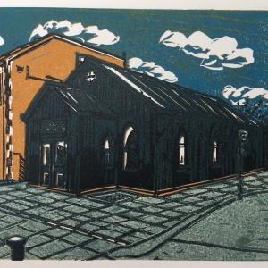 Shaftesbury Hall, 6 layer linocut print