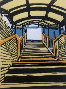 Bowes Park Station Stairs - Linocut Print
