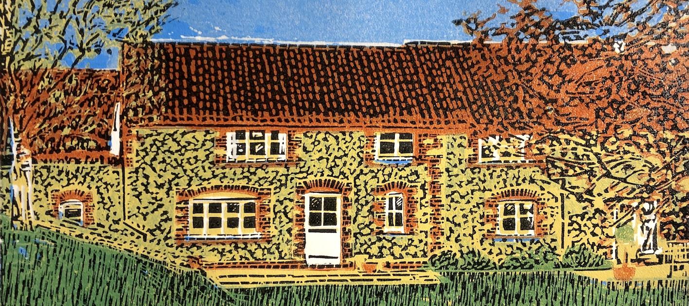 Walnut Hollow - a 6 colour lino print